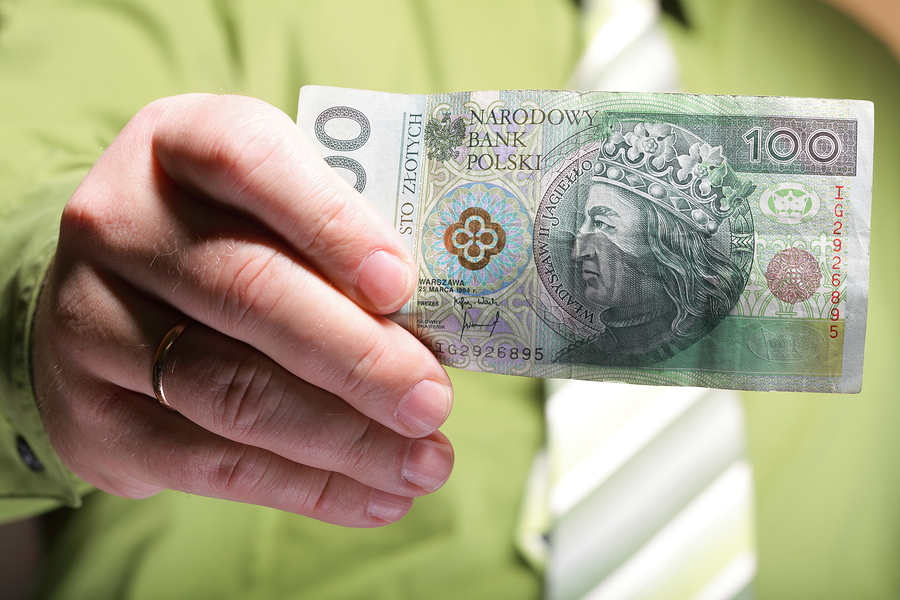 Businessman holding polish money hundred zloty banknote